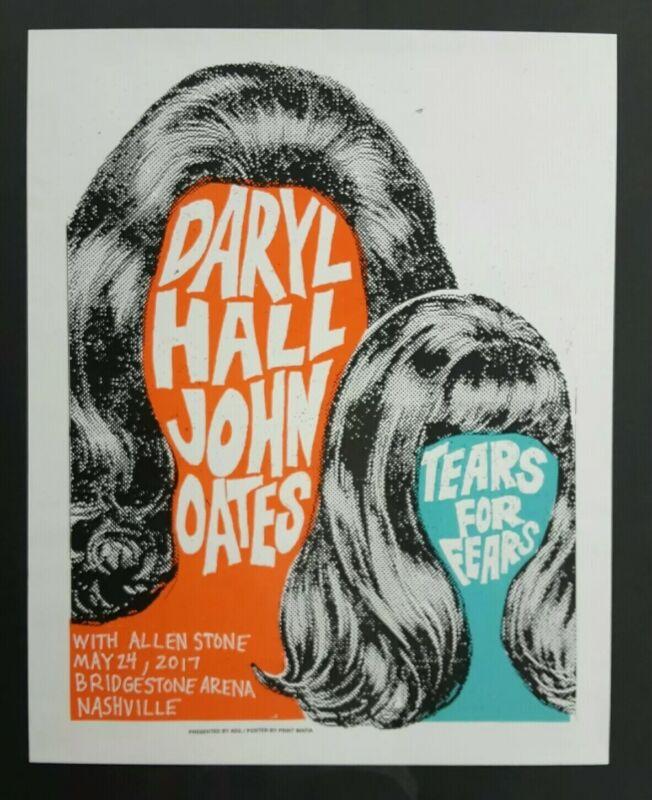 HALL & OATES 2017 TEARS FOR FEARS Nashville Print Mafia Concert Show Poster RARE
