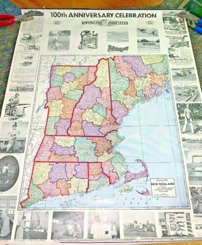 1955 NEW ENGLAND HOMESTEAD 100th ANNIVERSARY WALL DISPLAYS w/ MAPS (for school)