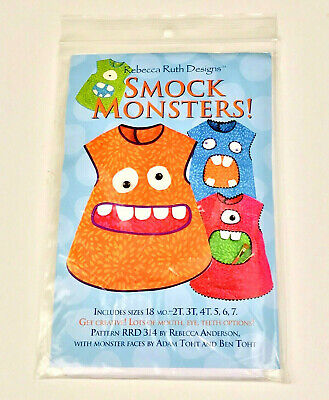 Smock Monsters! Sewing Pattern Apron Paint Coverup Sizes 18m to 7 yrs NEW Uncut
