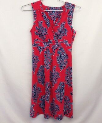 - Lilly Pulitzer Surplice V-Neck Knit Dress Sz S? Coral with Blue Coral Seahorse