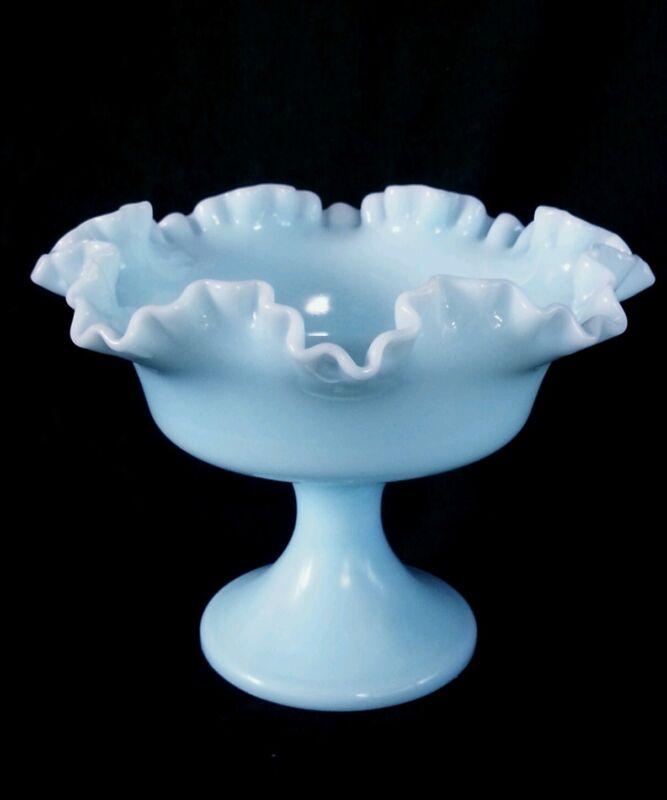 Vintage blue milk glass compote