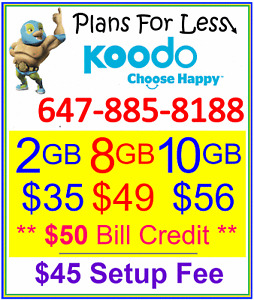 Koodo 2Gb 8Gb 10Gb LTE data plan UNLIMITED talk text + $50 bonus