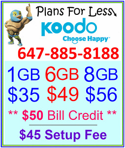 Koodo 1GB 6GB 8GB LTE Data UNLIMITED talk text plan + $50 BONUS