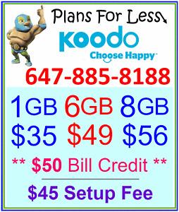 Koodo $56 8GB LTE Data UNLIMITED talk text plan + $50 BONUS