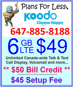 Koodo 1GB 6GB 8GB LTE Data Canada talk text plan + $50 BONUS