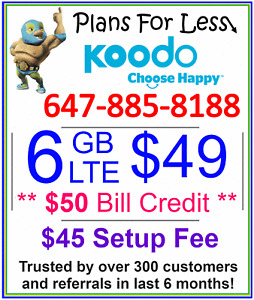 Koodo 6GB 8GB LTE Data UNLIMITED talk text plan + $50 Bonus
