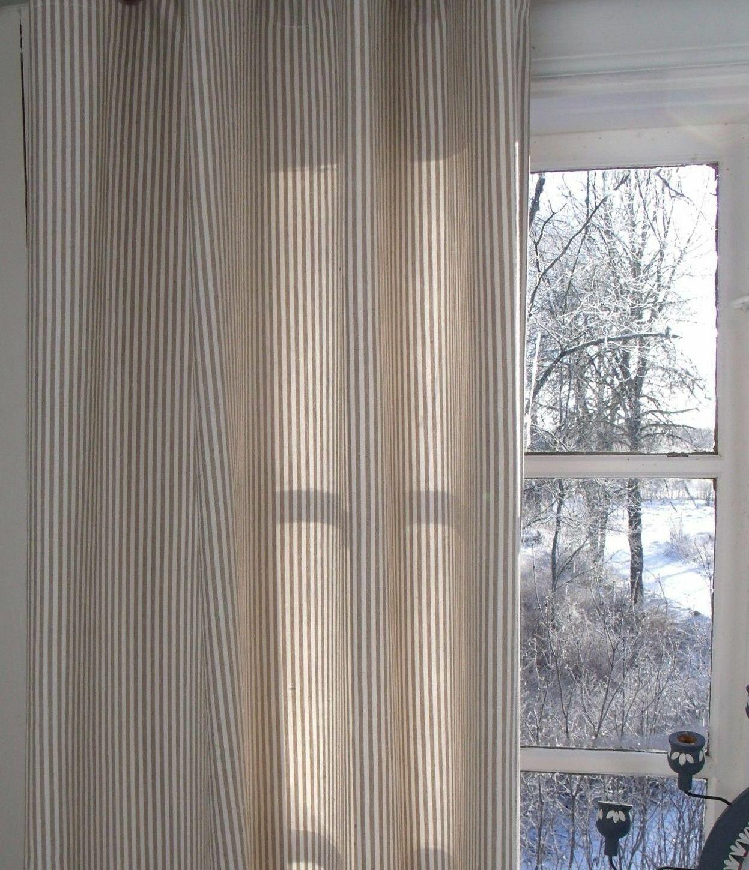 Vorhang PAMELA SAND CREME Gestreift 115x250 cm 2 Stück Vorhangschals