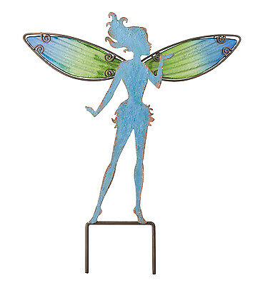 BLUE FAIRY W / HAND PAINTED WINGS - Garden Stake - Regal Art & Gift 10801