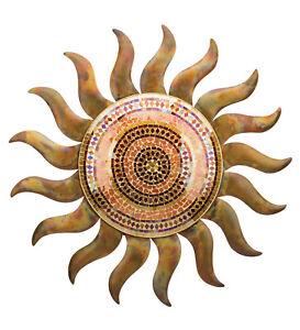 MOSAIC SUN WALL DECOR - FLAMED COPPER SUN - INDOOR OUTDOOR - REGAL 20394