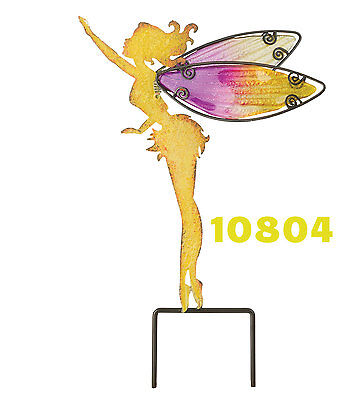 YELLOW FAIRY - W / HAND PAINTED GLASS WINGS -Garden Stake Regal Art & Gift 10804