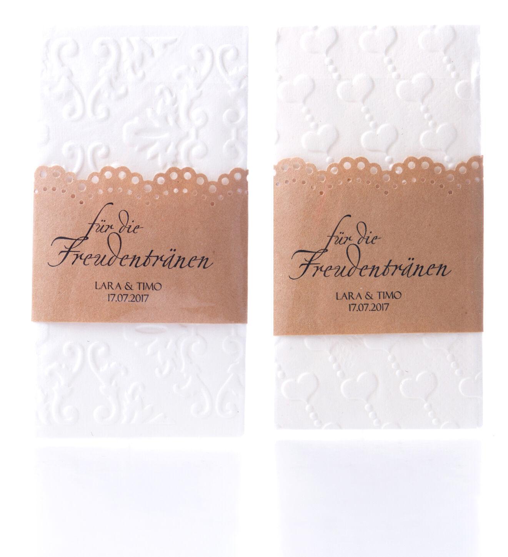 10 Personalisierte Kraftpapier Banderolen für Freudentränen Taschentücher