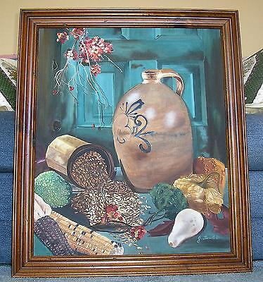 AMERICANA VINTAGE GARDEN CROP VEGETABLES CORN SQUASH GRAINS STILL LIFE PAINTING