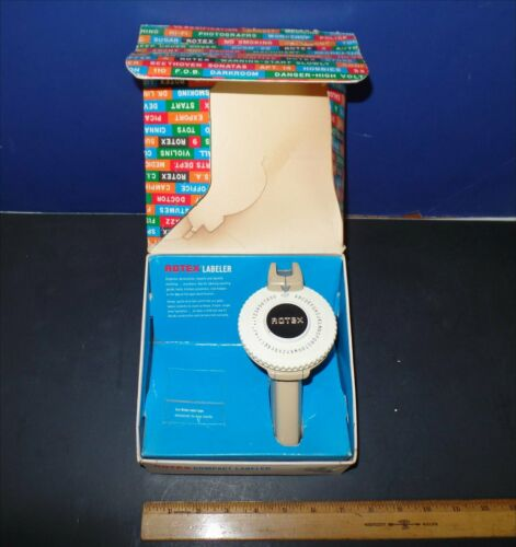 Rotex Label Maker Handheld Vintage 60's with box
