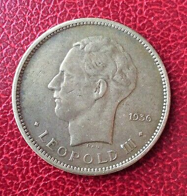 Congo Belge  - Leopold III  - Très Jolie monnaie de 5 Francs 1936 - Lion