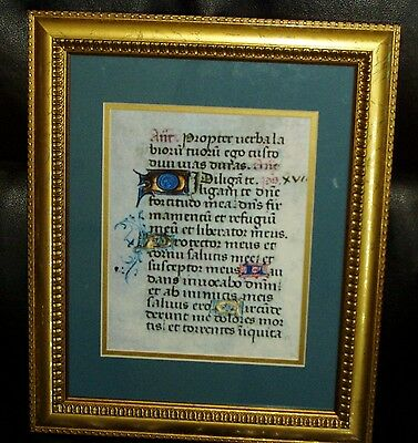 Framed 15th Century Latin Bible Leaf Reproduction Psalm 18:1-6