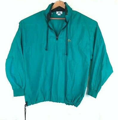 VTG 90s Lacoste XL Nylon Anorak Windbreaker Jacket 1/4 Zip Pullover Green