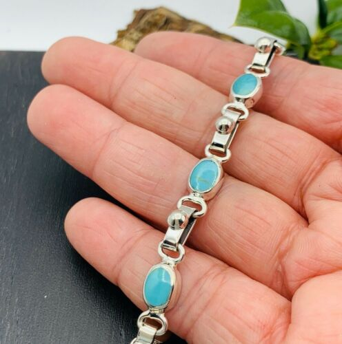 NEW! .925 Solid Taxco Mexican 925 Sterling Silver Turquoise Bracelet F/ Mexico