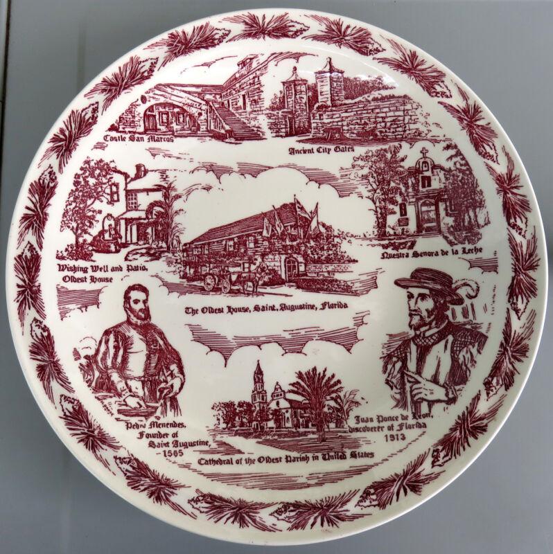 ST. AUGUSTINE Vintage Red Wine Maroon Vernon Kilns Collector's Plate 1940s