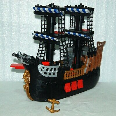 Vintage Fisher Price 2006 Mattel Imaginext Adventures Pirate Black Ship Boat