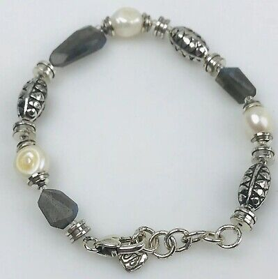 Brighton Silver Plated Mother Of Pearl Stone  bead bracelet Adjustable 7 To 8 In Mother Of Pearl Beaded Bracelets