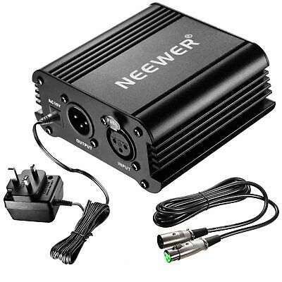 Neewer 1- Channel 48V Phantom Power Supply with Adapter and One XLR Audio Cable
