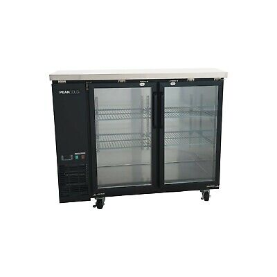Peakcold 48 Glass Front Back Bar Cooler 2 Door Under Counter Fridge