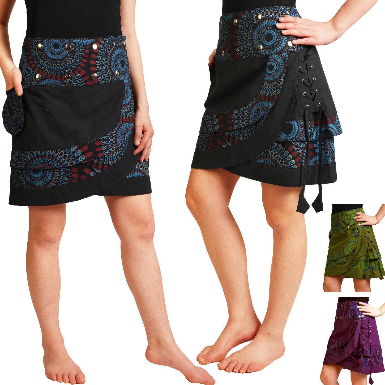 671306e59469 Wickelrock aus Baumwolle mit Druckknöpfen, Rock Urlaub Sommer Goa Freizeit  Nr 14