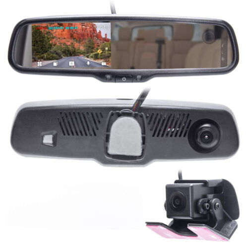 "Rear View Mirror with 4"" LCD Screen Dash Cam & In-Cabin + AHD Backup Camera"