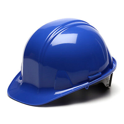 Blue Hard Hat Pyramex Hp14160 4-point With Ratchet Suspension Safety Cap Style