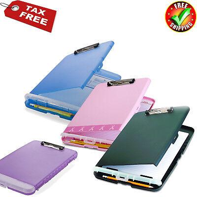 Box Clipboard Storage Organizer Slim Case Office Paper Letter Briefcase Colors