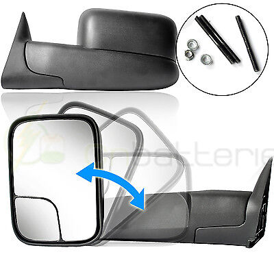 Side View Manual Towing Mirrors Pair Set For 94-02 Dodge Ram Truck Pickup Mirror