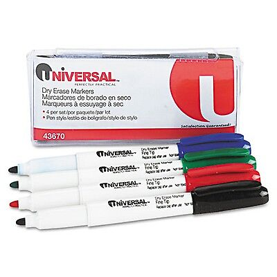 UNIVERSAL PEN STYLE DRY ERASE MARKERS FINE TIP 4 COLORS BLUE RED GREEN - Erase Markers