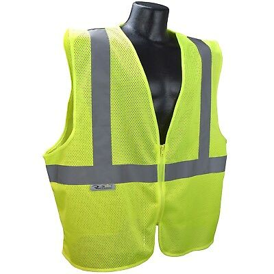 Radians Class 2 Reflective Mesh Safety Vest with Zipper, Yellow/Lime Class 1 Safety Vest