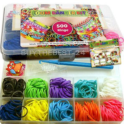 Loom Band Armbänder (516 Teilig Loom Bänder Starter Set Armband Gummibänder Bands Loom Bänder 500Ring)