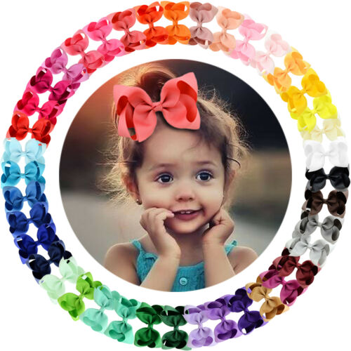 "40 Colors 4.5"" Big Grosgrain Ribbon Bows Hair Alligator Clips for Girls Toddler"