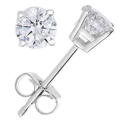 1/4 cttw Diamond Stud Earrings 14K White Gold 4 Prong Basket Set With Push Backs