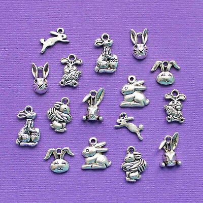 Easter Bunny Charm Collection Antique Silver Tone 16 Charms - -