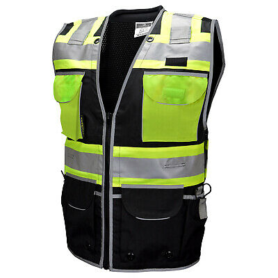 Radians Type O Class 1 Heavy Duty Engineer Safety Vest, Black Class 1 Safety Vest