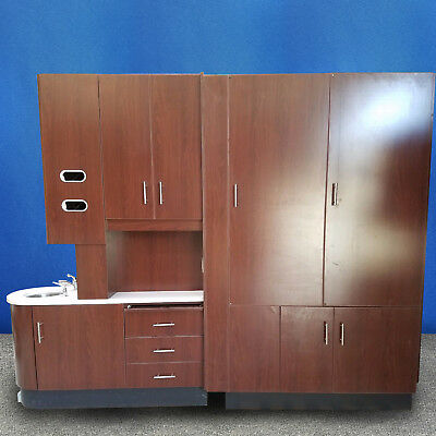 Center Island Pass Through Dental Cabinet W Solid Surface Top And Tapmaster