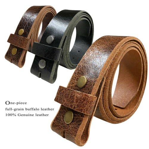 Belt Strap Snap On Full Grain One Piece Leather Unisex Belt-black, Brown, Or Tan