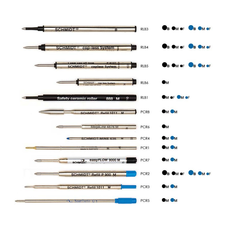 Schmidt refill inchiostro, penna a sfera roller, nero blu, ink Parker Omas Cross