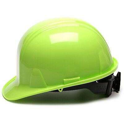 Pyramex Cap Style Hard Hat With 4 Point Ratchet Suspension Hi-vis Green
