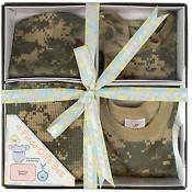 Newborn Infant Baby ACU Camo Bodysuit One Piece Romper Bib Blanket Cap Gift Se