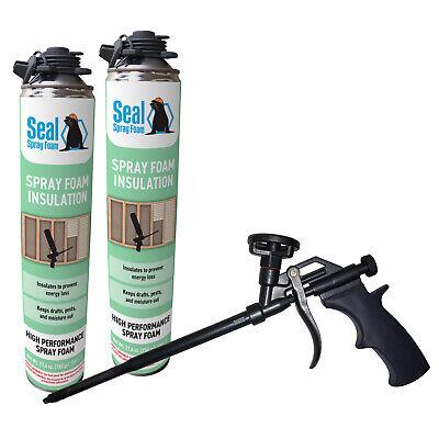Seal Spray Closed Cell Insulating Foam Can Kit Wgun Foam Applicator 50 Bf