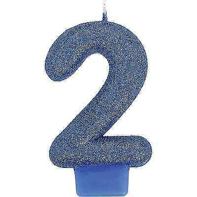 Glitter Blue 2nd Birthday Anniversary Candle Cake Decoration Supplies Number # 2 - Number 2 Candle