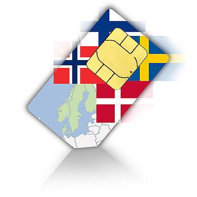 SIM Karte für Skandinavien mit 1GB mobiles Internet + 200 Min. Standard/Micro