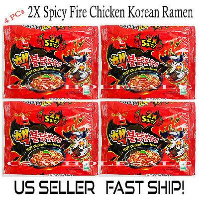 4 PCs 2X Spicy Fire Chicken Ramen Hot Spicy Chicken Noodles Korean Ramen  Noodle