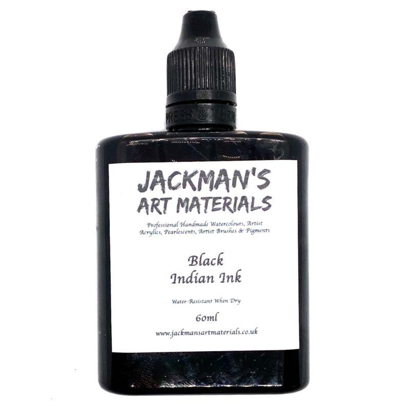 Black Indian Ink (Water Resistant) 60ml - Jackman's Art Materials