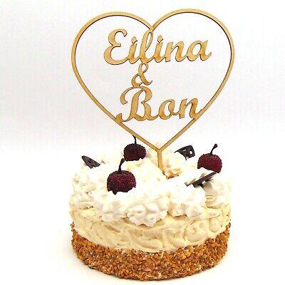 Tortenstecker Herz Namen der Brautleute personalisiert Cake Topper Individuell