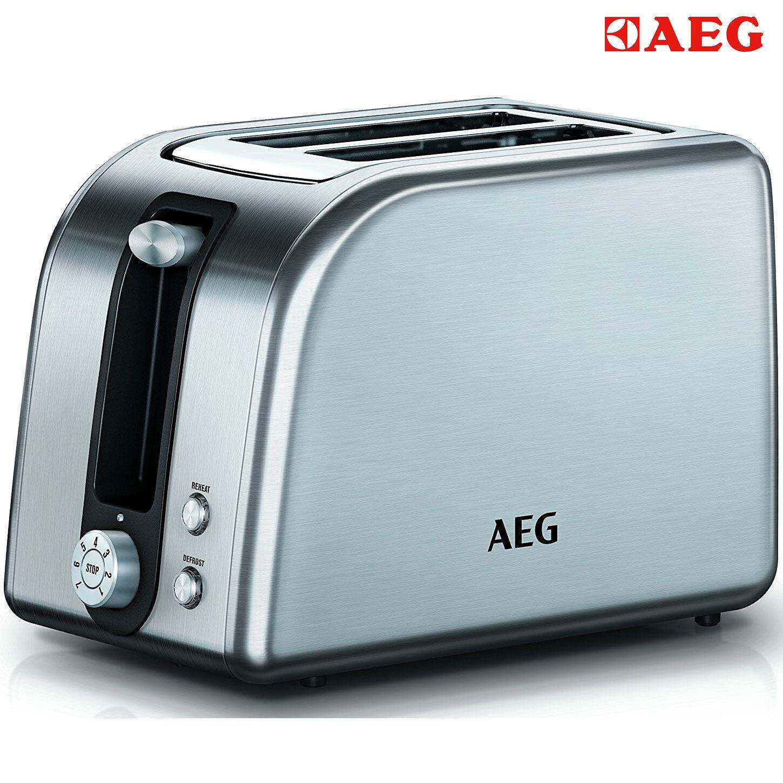 AEG AT 7700 2-Scheiben Toaster Edelstahl 7 Stufen 850Watt LED Auftaufunktion NEU